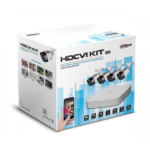 Kit Videosorveglianza Dahua HAC-KIT002 HDCVI con Dvr 8 canali, 4 telecamere fisse IR 720P e 1 HD 1Tb, alimentatore e cavo