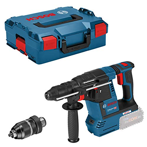 Bosch Professional 18V System Akku Bohrhammer GBH 18V-26 F (ohne Akkus und Ladegerät, inkl. Zusatzhandgriff, Tiefenanschlag, Maschinentuch, Wechselfutter SDS plus, in L-BOXX)
