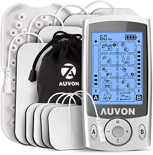 AUVON TENS Gerät, 2 Kanäle TENS EMS Reizstromgerät mit 20 Trainigsprogramme und 8 Stück Premium Elektroden Pads zur Schmerzlinderung von Knicken am Rücken, Nacken, Schultern
