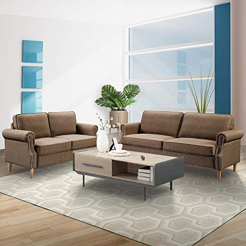 LinkRomat 2 Pieces 2 Pcs Morden Style Living Room Set Loveseat Couch Home Furniture Sofas, Brown