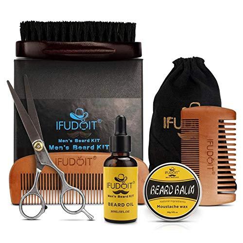 Bartpflege-Set für Männer, 100{e63d45c7143b4429fd1e294417a9562c78f1b29e499f4827e3444d899ecaab3e} Bio-Bartöl, Grooms Bartschnurrbart fördert das Haarwachstum, Schnurrbartbalsam, Bartbürste, Bartkamm, Bartschere für Bart & Schnurrbart mit Geschenkset 6-tlg