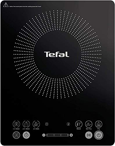 Tefal IH2108 Everyday Slim Induktionskochplatte (300 - 2100 Watt, 6 Kochprogramme, Digitalanzeige, Timer) schwarz