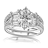 14K White Gold 1.47 CTW Baguette And Round Brilliant Diamond Engagement Ring and Wedding Band Set w/...