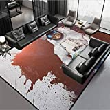 Outer Space Baby Rooms Rug Christmas Thanksgiving Decor Rug Cute Kitty Cosmonaut on Earth World in Front of Color Splash Surreal Design Red White Rug 46' by 30'