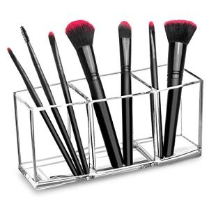 hblife Clear Makeup Brush Holder Organizer, 3 Slot Acrylic Cosmetics Brushes Storage Solution,Pattern A 29