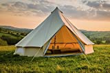 5m Bell Tent Zipped in Groundsheet 100% Cotton Canvas Family Glamping Garden Camping Tent (Sand)