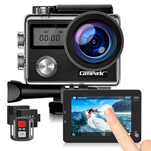 Campark Action Cam HD 20MP 4K WIFI Action Camera Touch Screen Macchina Fotografica Subacquea 40M con Custodia Impermeabile, Doppio Schermo LCD, Remote Control, EIS e Kit Accessori