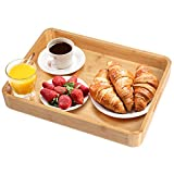 Plateau de petit-déjeuner en bambou avec poignées 14.8*11*1.96 inch
