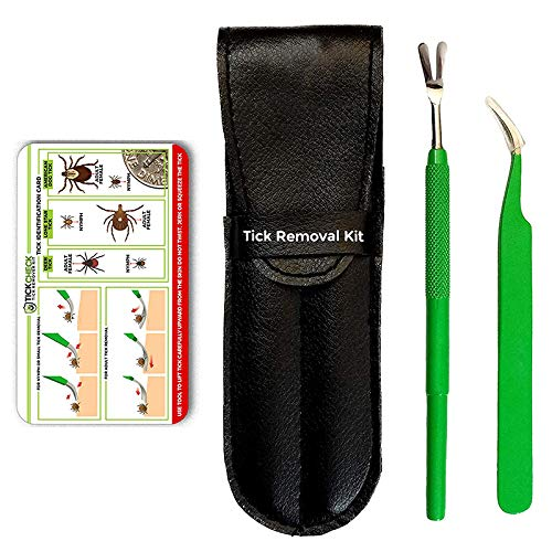 Premium Tick Remover Kit - Stainless Steel Remover, Tweezers, Leather Case & Pocket ID Card (1 Set)