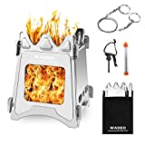 Backpacking Wood Stove, WADEO Foldable Camping Stove, Stainless Steel Foldable Camping Stove with Compact and Lightweight Design for Outdoor Cooking, Camping, Hiking, Traveling Picnic and BBQ
