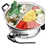 YONGXIN Electric Hot Pot JH-160B-30cm with Divider 304 Stainless Steel