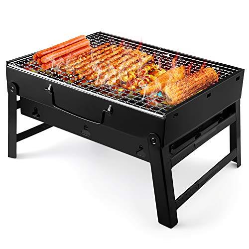 UTTORA Grill, Tragbarer Gefalteter Holzkohlegrill Tisch Outdoor Edelstahl Rauch BBQ für Picknick Garten Terrasse Camping Reise Convient 2 à 5 personnes (36 x 29 x 7.5 cm)