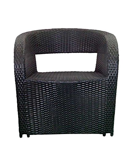 Virasat Outdoor Chair/Garden Chair/Balcony Chair for Outdoor/Indoor Use with Cushion/Color-Black