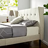 Zinus Athena Upholstered Button Tufted Wingback Platform Bed / Mattress Foundation / Easy Assembly / Strong Wood Slat Support, Full