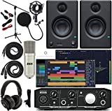 Mackie Onyx Artist 1-2 Audio Interface With Pro Tools First/Tracktion Music Production Software, Eris 3.5 Pair Studio Monitors, Condenser Studio Microphone, XLR, Headphones, Mic Stand