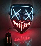 Moonideal Halloween Light Up Mask EL Wire Scary Mask for Halloween Festival Party Sound Induction Flash with Music Speed (White and red)