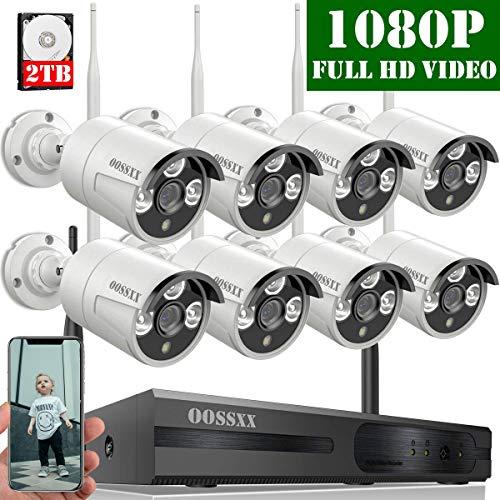 【2020 Nuovo】 Kit Sorveglianza Telecamera 8 Canali 1080P NVR Di Sorveglianza Wireless, Videosorveglianza WiFi Esterno/Interno 1080P, 8 x 1080P IP67 CCTV Visione Notturna Camera, 2TB Disco Rigido
