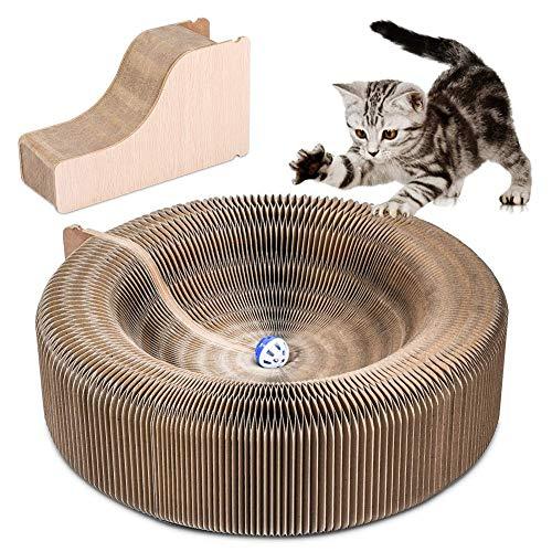 YOUTHINK Kratzbrett, Faltbares Kratzbrett Pappe für Katzen Katzenspielzeug Kitty Scratcher Lounge aus Hochwertigem Recyceltem Wellpapier mit Katzenminze und Spielzeugglocke