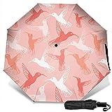 Paraguas de viaje a prueba de viento protección UV (patrón de colibrí pastel en melocotón)
