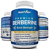 Nutrivein Premium Berberine HCL 1200mg - 120 Capsules - Supports Glucose Metabolism, Immune System, Blood Sugar, Cardiovascular & Gastrointestinal Function - Insulin Stabilizer for Diabetes - Non GMO