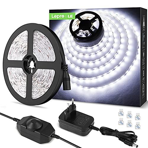 LE Striscia LED 5M 300LED SMD2835 Dimmerabile, 15W 1200lm Luce Nastro Luminoso Bianco Freddo 6000K per Decorazioni Interne, Kit Completo 2 Connettori, Alimentatore e Interruttore Dimmer