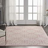 Nourison JUB06 Jubilant Transitional Floral Ivory/Pink Area Rug 5'3' x 7'3', 5' x 7'
