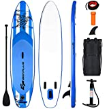 """Goplus Inflatable Stand Up Paddle Board, 6.5"""" Thick SUP with Carry Bag, Adjustable Paddle, Bottom Fin, Hand Pump, Non-Slip Deck, Leash, Repair Kit (Navy, 10.6 Ft)"""