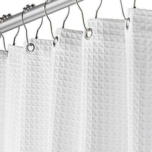Fabric White Shower Curtain for Bathroom - Spa, Hotel Luxury, Waffle Weave Square Design, Water Repellent, 72' x 72' for Decorative Bathroom Curtains