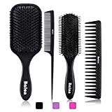 4Pcs Paddle Hair Brush, Detangling Brush and Hair Comb Set for Men and Women, Great On Wet or Dry Hair, No More Tangle Hairbrush for Long Thick Thin Curly Natural Hair(Black)
