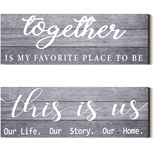 2 Pieces This is Us Our Life Our Story Rustic Print Wood Signs...