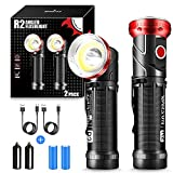 WARSUN LED Flashlight Rechargeable Tactical Flashlight 1000Lumens COB LED 90 Degree Swivel Magnetic Flashlight Handheld with Clip Waterproof Torch for Emergency(18650 Battery Included)