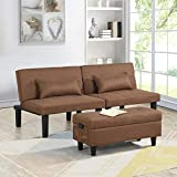 Futon Sofa Bed Couch and Sleeper with Storage Ottoman Footstool or Coffee Table and 2 Lumbar Pillows, Tufted Adjustable Convertible Futon Sofa Bed Sleeper Couch Loveseat, Small, Linen (Brown)