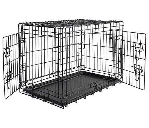 EUGAD 0006TSL Cage de Transport Cage métal avec bac en Plastique,Cage à Chiot Pliable avec 2 Portes