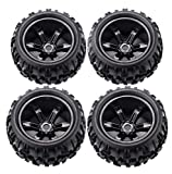 RC Tires Wheels 1/8 Scale Monster Truck Buggy Crawler Tires 4 PCS 17mm Hex PreGlued Rim and Tires for Racing RC Off-Road On-Road Car Accessories, for 1/8 Traxxas HSP HPI E-MAXX Savage etc, Black