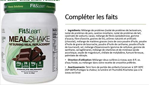 Fit & Lean Meal Shake Fat Burning Meal Replacement with Protein, Fiber, Probiotics and Organic Fruits & Vegetables and Green Tea for Weight Loss, 1lb, Chocolate, 10 Servings Per Container 8