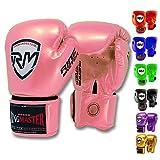 RingMasterUK Kids Boxing Gloves Carbon Leather Training Sparring Punch Bag Mitt