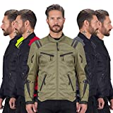 Viking Cycle Ironborn Protective Textile Motorcycle Jacket for Men - Waterproof, Breathable, CE Approved Armor for Bikers (Military Green, Large)