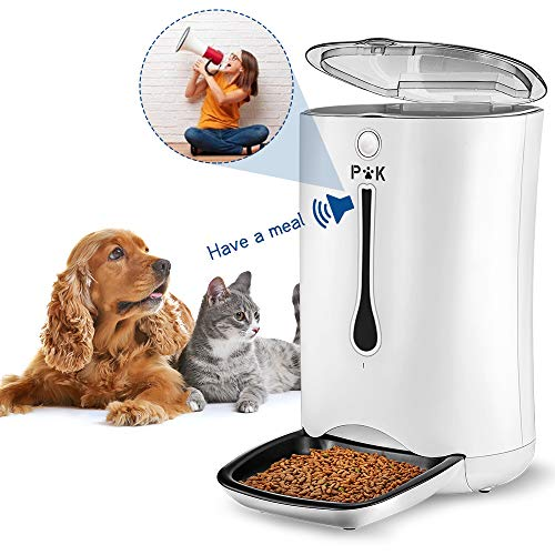 PUPPY KITTY 7L Automatischer Futterautomat für Katze und Hund, Automatischer Futterspender Katze mit Timer mit bis zu 4 Mahlzeiten am Tag,LCD Bildschirm und Ton-Aufnahmefunktion Smart Dog Feeder