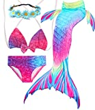 Camlinbo 3Pcs Girls Swimsuits Mermaid for Swimming Mermaid Costume Bikini Set for Big Girls Birthday Gift 3-14 Years