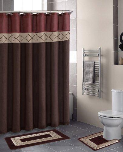 Home Dynamix Designer Bath Polyester 15-Piece Bathroom Set, Rust/Brown
