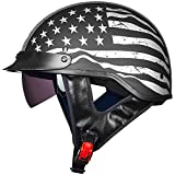 ILM Half Helmet Motorcycle Open Face Sun Visor Quick Release Buckle DOT Approved Cycling Motocross Suits Men Women (M, Patriotic Flag)