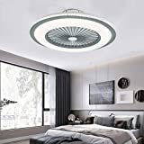 Gdrasuya10 Ceiling Fan Chandelier 23Inch, SYF-C008 Flush Mount Pendent Fans Lamp Invisible Ceiling Fan with Lights SMD LED Remote Control Lighting Fixture 3 Color Dimmable (Gray)