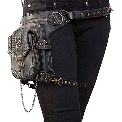 Malayas Steampunk Bag,Waist Bag/Shoulder Bag/Vintage Leather Shoulder Bag/Leg Bag Gothic Unisex, Black (Sports)