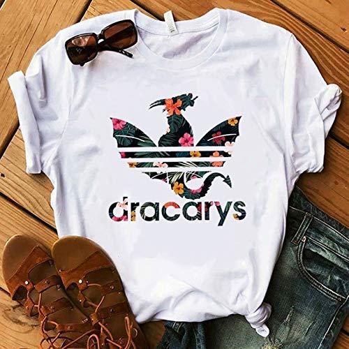 ZCYTIM Camiseta Juego de Tronos Madre del dragónCamisa Dragón Fuego Piel de Invierno Moda para Mujer Camiseta de losFans Regalo