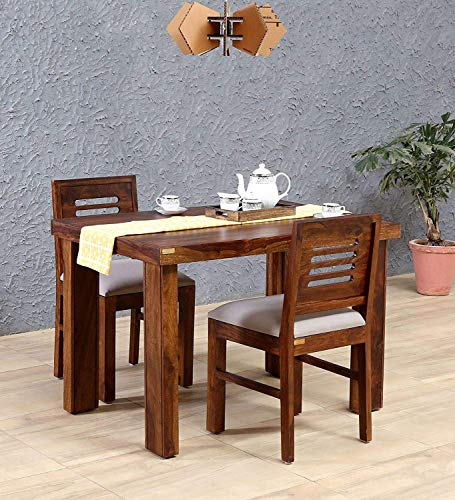 Furinno Sheesham Wood 2 Seater Dining Table for Living Room Home Hall Hotel Dinner Restaurant Wooden Dining Table Dining Room Set Dining Table with 2 Cushioned Chairs Furniture for Home (Teak Finish)