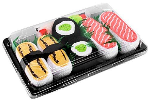 Rainbow Socks - Donna Uomo Calzini Sushi Tamago Salmone Cetriolo Maki - 3 Paia - Taglia 36-40