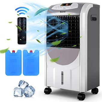 COSTWAY Air Cooler and Heater, Compact Portable cooler with Fan Filter Humidifier Ice Crystal Box Remote Control, Evaporative Cooler and Heater for Indoor, Home Office Dorms