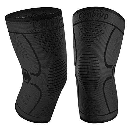 CAMBIVO 2 Pack Knee Brace, Knee Compression Sleeve Support for Men and Women, Running, Hiking, Arthritis, ACL, Meniscus Tear, Sports, Home Gym (Black,Medium)