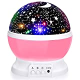 Baby Night Lights, Moon Projector 360 Degree Rotation - 4 LED Bulbs 8 Color Changing Light, Romantic Night Lighting Lamp, Unique Gifts for Birthday Nursery Women Children Kids Baby