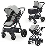 Newborn Infant Baby Bassinet Stroller - Sleeping & Sitting Mode 2 in 1 All Terrain High Landscape Shock Absorption Sunshade Comfortable Baby Toddler Strollers for 0-36 Months Old Babies